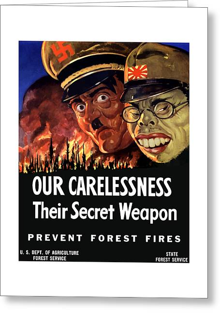 Caricatures Greeting Cards - Our Carelessness - Their Secret Weapon Greeting Card by War Is Hell Store