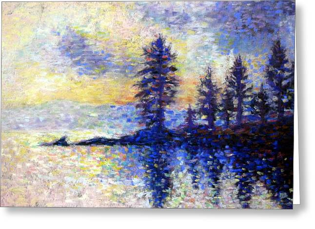 Pointillist Pastels Greeting Cards - Our Favorite Lake Greeting Card by Elly Love