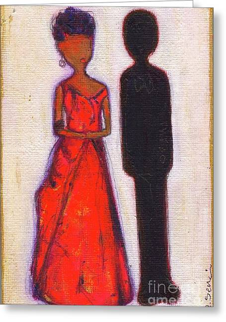 Michelle Obama Paintings Greeting Cards - Our First Lady In Red Her Husband is Black Greeting Card by Ricky Sencion