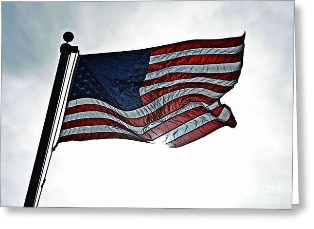 Proudly Waving Greeting Cards - Our Flag is Still There  Greeting Card by JW Hanley