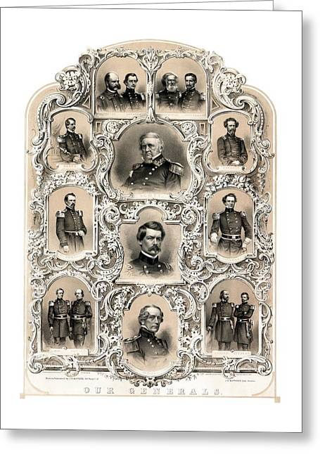 American Civil War Drawings Greeting Cards - Our Generals -- Union Civil War Greeting Card by War Is Hell Store