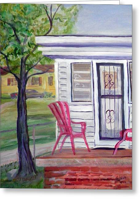 Screen Doors Paintings Greeting Cards - Our House Greeting Card by Ben M Arthur