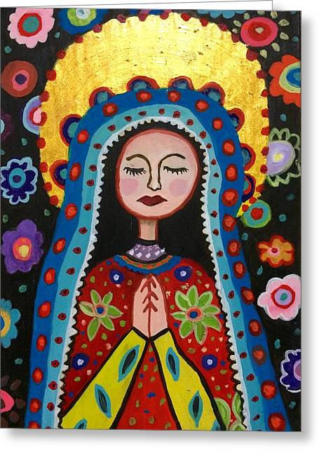 Wishes Greeting Cards - Our lady Gadalupe. Greeting Card by Claudia Leite