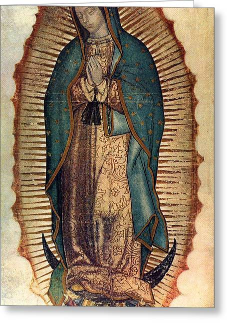 Religious Paintings Greeting Cards - Our Lady Of Guadalupe Greeting Card by Pam Neilands