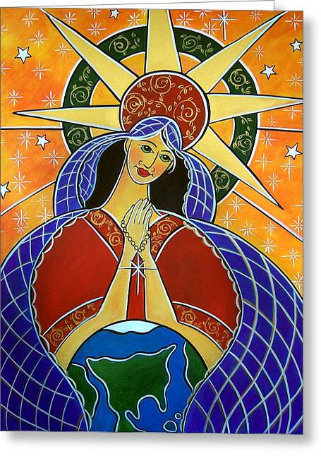Rosary Greeting Cards - Our Lady of Mercy Greeting Card by Jan Oliver-Schultz