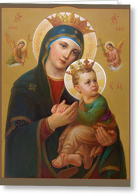 Sacred Religious Art Greeting Cards - Our Lady Of Perpetual Help - Perpetuo Socorro Greeting Card by Svitozar Nenyuk