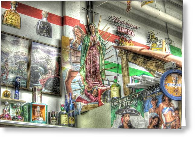 Hooch Greeting Cards - Our Lady of the Liqueur Store Greeting Card by Jane Linders