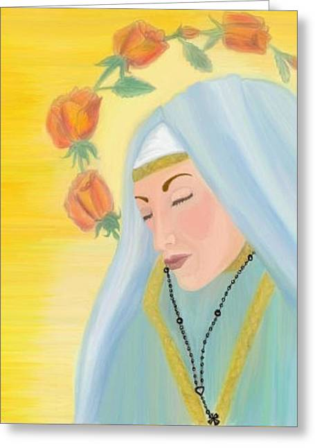 Fineart Pastels Greeting Cards - Our Lady of the Roses Greeting Card by Angela Anchor