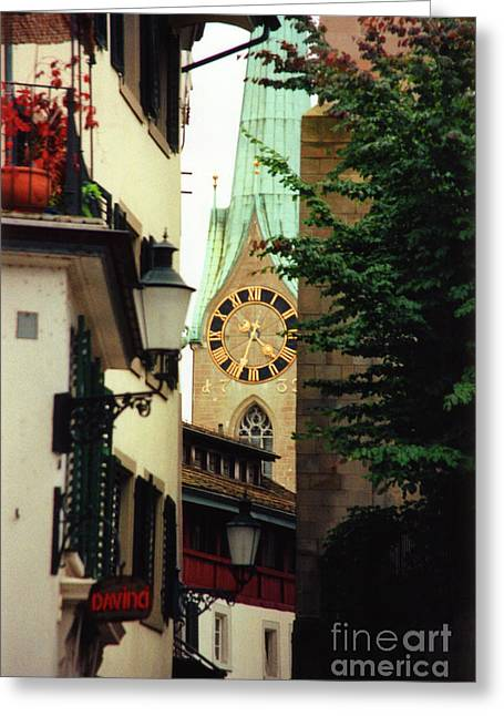 Large Clocks Greeting Cards - Our Ladys Minster Church in Zurich Switzerland Greeting Card by Susanne Van Hulst
