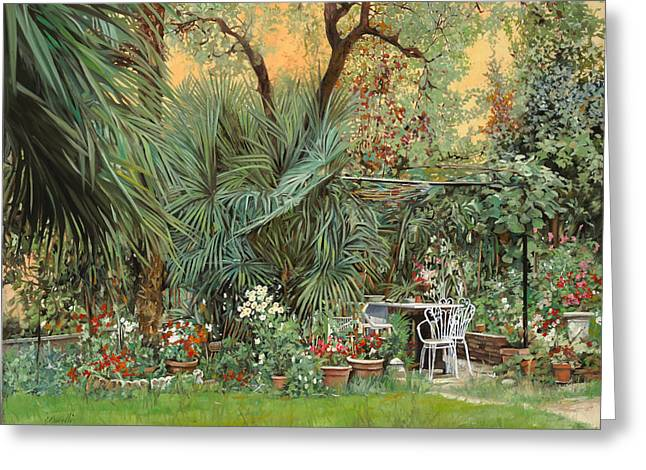 Garden Chairs Greeting Cards - Our Little Garden Greeting Card by Guido Borelli