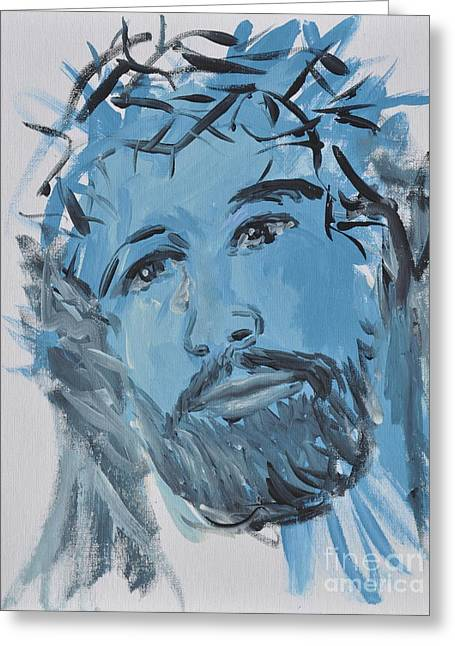 Jesus Wept Greeting Cards - Our Lord Cries Greeting Card by Penny Neimiller