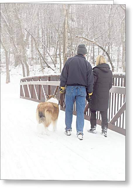 Dog Walking Greeting Cards - Our Love Will Keep Us Warm Greeting Card by Larry Ricker