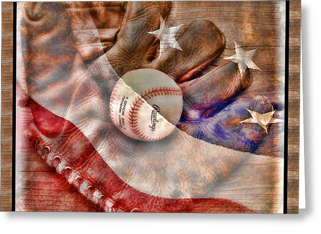 Baseball Bat Greeting Cards - Our National Pastime Greeting Card by John Freidenberg
