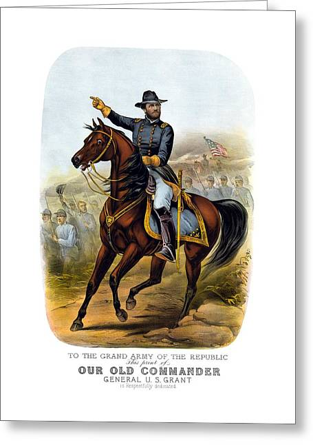 American Civil War Drawings Greeting Cards - Our Old Commander - General Grant Greeting Card by War Is Hell Store