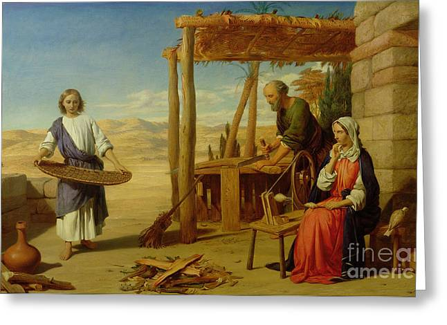 Youths Greeting Cards - Our Saviour Subject to his Parents at Nazareth Greeting Card by John Rogers Herbert