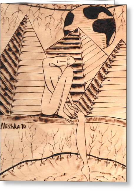 Nude Pyrography Greeting Cards - OUR WORLD No.1  Still and Silent Greeting Card by Neshka Muchalska