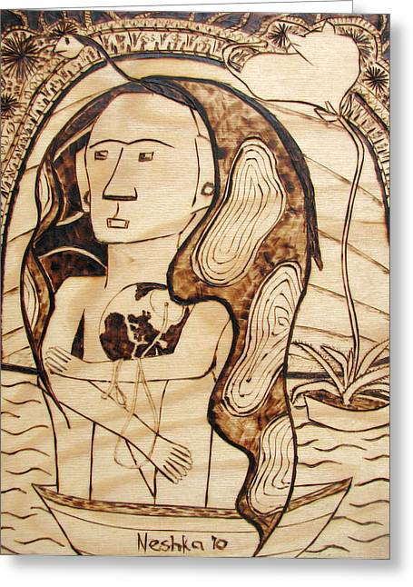 Surrealism Pyrography Greeting Cards - OUR WORLD No.6 - The Awaken Greeting Card by Neshka Muchalska