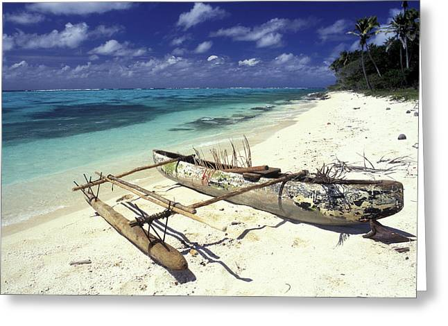 On The Beach Greeting Cards - Outrigger Canoe Greeting Card by Sean Davey
