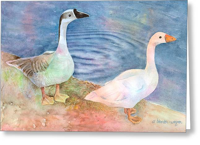 Geese Paintings Greeting Cards - Out For A Stroll Greeting Card by Arline Wagner