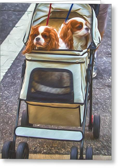 Puppy Digital Art Greeting Cards - Out for a Stroll Greeting Card by John Haldane