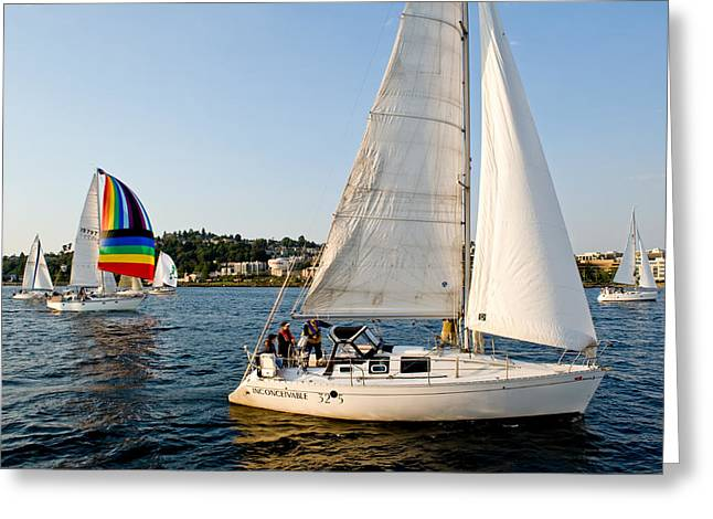 Sailboats In Water Greeting Cards - Out in Front Greeting Card by Tom Dowd