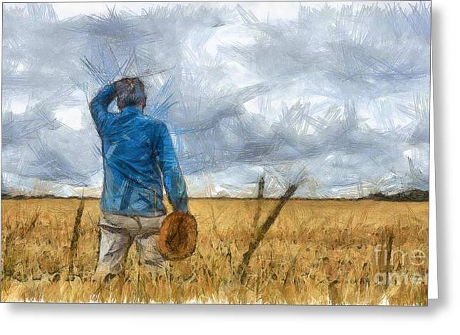 Out In The Fields Greeting Card by Edward Fielding