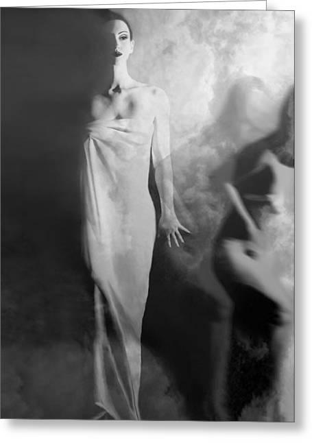 Artsy Greeting Cards - Out of the Fog - Self Portrait Greeting Card by Jaeda DeWalt