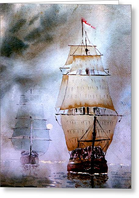 Tall Ships Paintings Greeting Cards - Out of the mist Greeting Card by Steven Ponsford