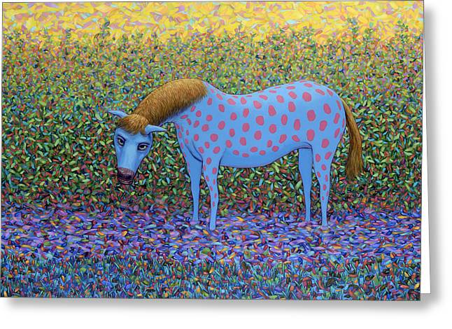Out Of The Pasture Greeting Card by James W Johnson