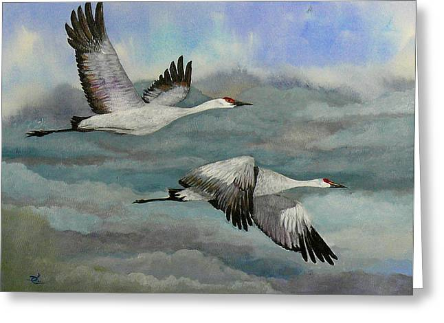 Sandhill Cranes Paintings Greeting Cards - Out of the Storm Greeting Card by Dee Carpenter