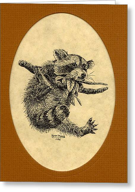 Pen And Paper Drawings Greeting Cards - Out on a Limb Greeting Card by Karen Musick