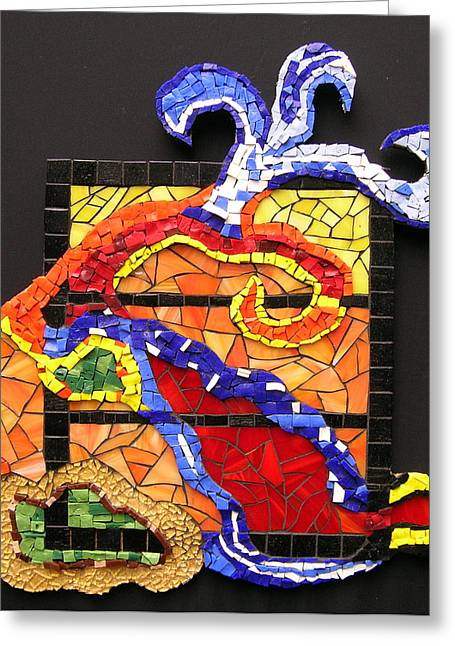 Swirl Glass Art Greeting Cards - Out the Box Greeting Card by Gila Rayberg