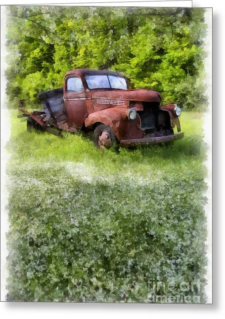 Vintage Truck Greeting Cards - Out to Pasture Greeting Card by Edward Fielding