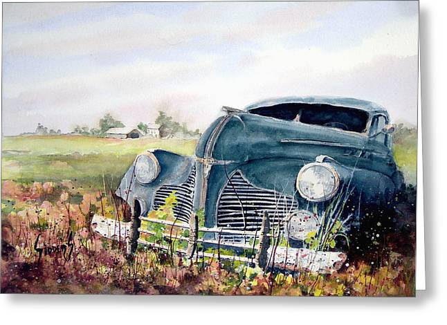 Old Automobile Greeting Cards - Out To Pasture Greeting Card by Sam Sidders