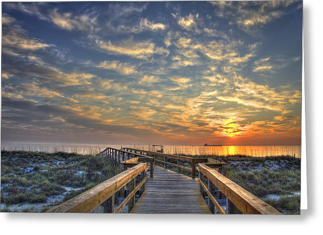 On The Beach Greeting Cards - Out To Sea Too Tybee island Georgia Greeting Card by Reid Callaway