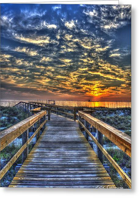 On The Beach Greeting Cards - Out To Sea Tybee Island Georgia Greeting Card by Reid Callaway