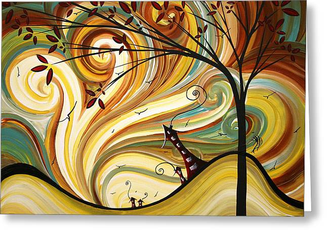 Contemporary Greeting Cards - OUT WEST Original MADART Painting Greeting Card by Megan Duncanson