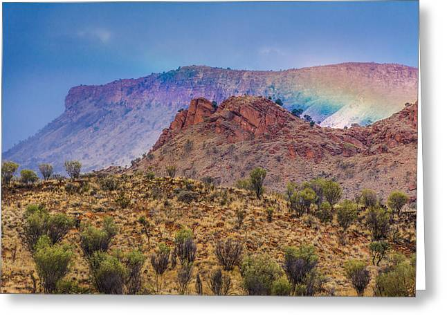 Apparel Greeting Cards - Outback Rainbow Greeting Card by Racheal  Christian
