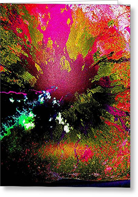 Fushia Mixed Media Greeting Cards - Outburst Greeting Card by Teodoro De La Santa