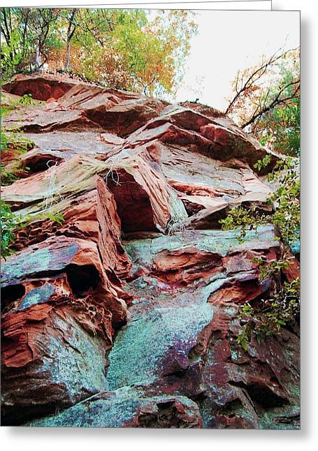 Jame Hayes Greeting Cards - Outcrop at Wildcat Den Greeting Card by Jame Hayes