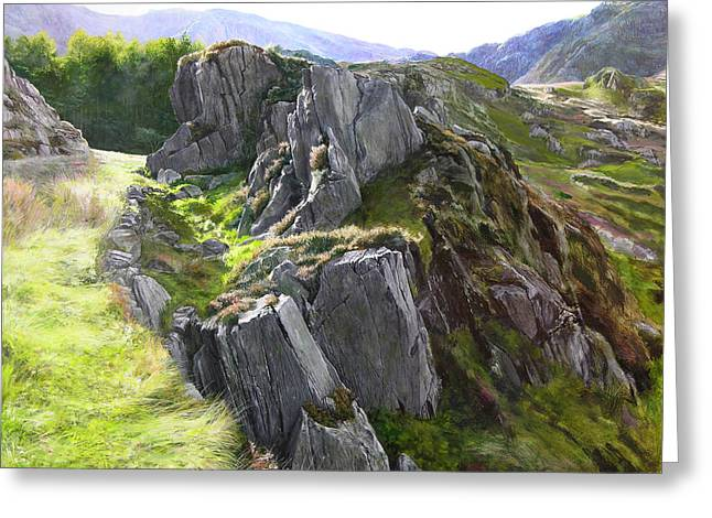 Naturalistic Greeting Cards - Outcrop in Snowdonia Greeting Card by Harry Robertson