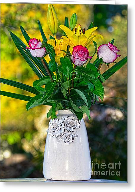 Old Pitcher Greeting Cards - Outdoor Bouquet on Golden Bokeh by Kaye Menner Greeting Card by Kaye Menner