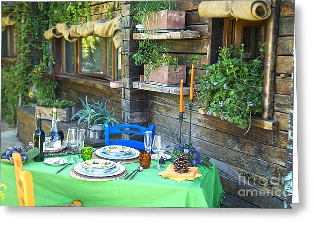 Table Wine Greeting Cards - Outdoor dining table Greeting Card by Marco Guidi