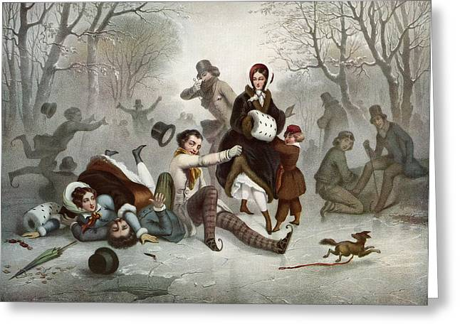 Ice-skating Greeting Cards - Outdoor Ice Skating In The 19th Greeting Card by Ken Welsh