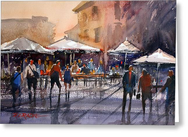 Outdoor Market - Rome Greeting Card by Ryan Radke