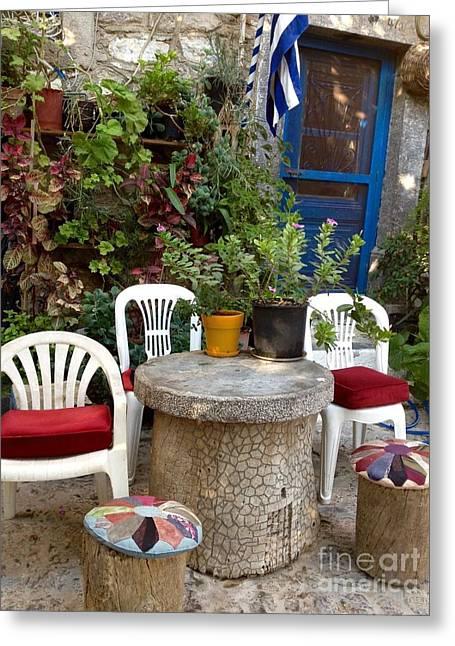 Chios Greeting Cards - Outdoor Spot Greece Mesta Greeting Card by Viktoriya Sirris