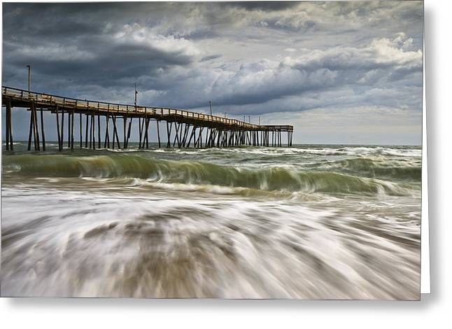 Flowing Greeting Cards - Outer Banks NC Avon Pier Cape Hatteras - Fortitude Greeting Card by Dave Allen