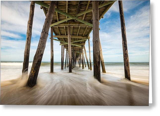 Recently Sold -  - North Sea Greeting Cards - Outer Banks NC Nags Head Fishing Pier OBX Greeting Card by Dave Allen
