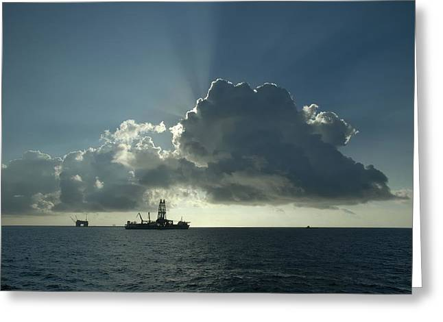 Drillship Greeting Cards - Outer Continental Shelf Oilfield  Greeting Card by Bradford Martin