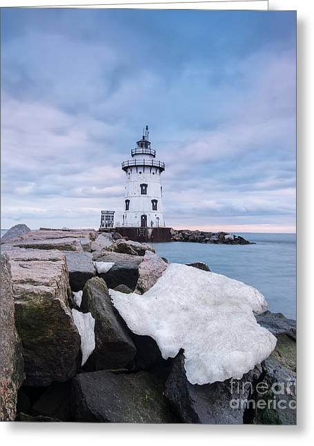 New England Ocean Greeting Cards - Outer Light Wintertide - Connecticut Lighthouse Greeting Card by JG Coleman